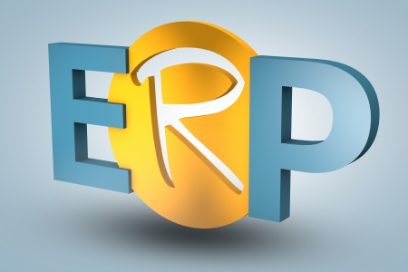 acronym concept: ERP for Enterprise Resource Planning on blue background photo