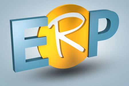 erp: acronym concept: ERP for Enterprise Resource Planning on blue background
