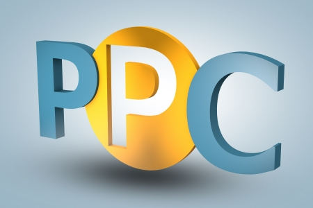 acronym concept: PPC for Pay per Click on blue background Stock Photo