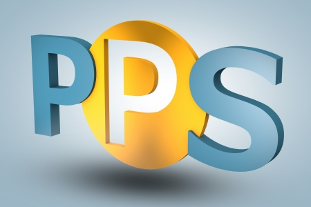 advertiser: acronym concept: PPS for Pay per Sale on blue background