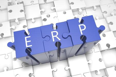 Puzzle concept: acronym ERP on blue jigsaw pieces