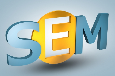 acronym concept: SEM for Search Engine Marketing on blue background photo