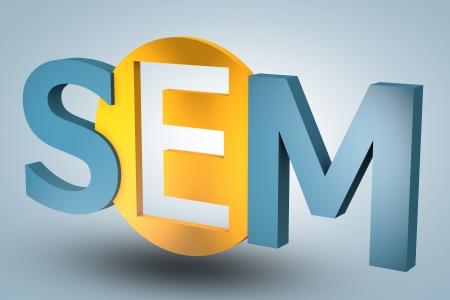 sem: acronym concept: SEM for Search Engine Marketing on blue background Stock Photo