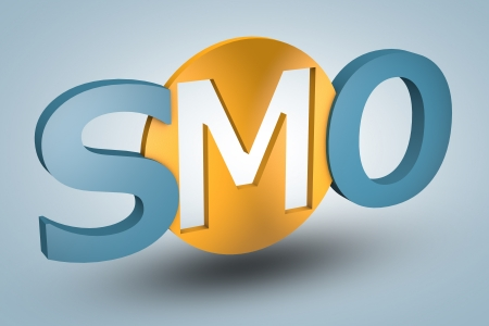 smo: acronym concept: SMO for Social Media Optimization on blue background Stock Photo