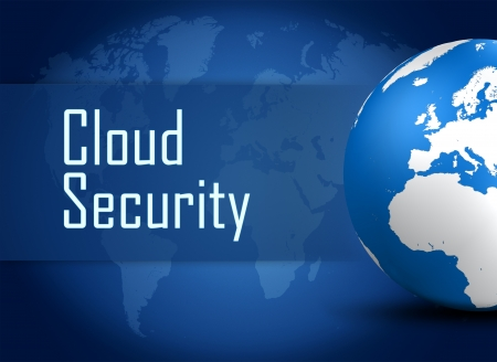 Cloud Security concept with globe on blue world map background Stock Photo - 21747658