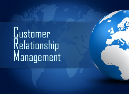 Customer Relationship Management concept with globe on blue world map background photo
