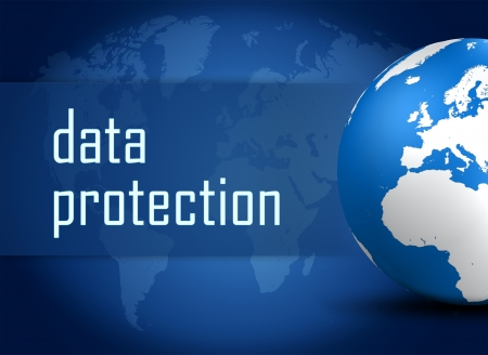 Data Protection concept with globe on blue world map background photo