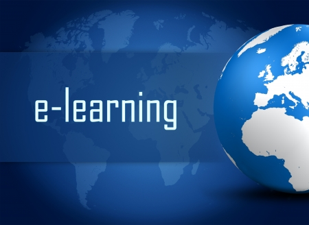 virtual classroom: E-learning concept with globe on blue world map background