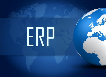 Enterprise Resource Planning concept with globe on blue world map background