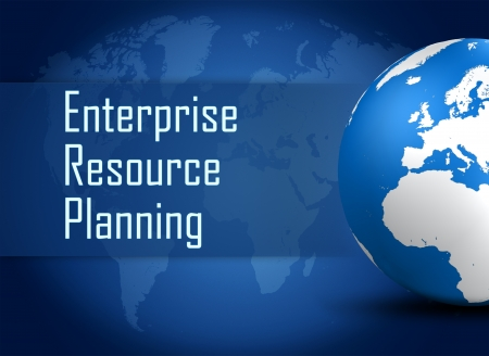Enterprise Resource Planning concept with globe on blue world map background photo