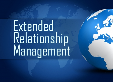 Extended Relationship Management concept with globe on blue world map background photo
