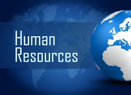 Human resources concept with globe on blue world map background photo
