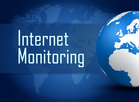 Internet monitoring concept with globe on blue world map background photo