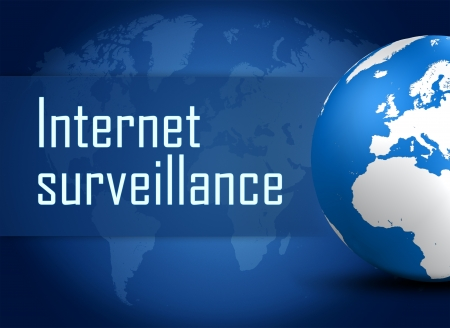 big brother spy: Internet surveillance concept with globe on blue world map background