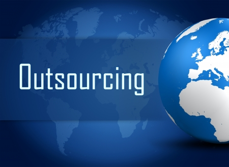 Outsourcing concept with globe on blue world map background