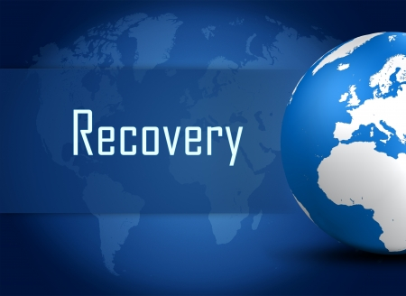 data recovery: Recovery concept with globe on blue world map background