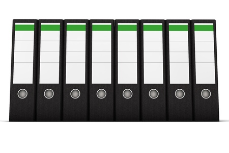 Black ring binder in a row on white background photo