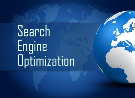 metasearch: Search Engine Optimization concept with globe on blue world map background