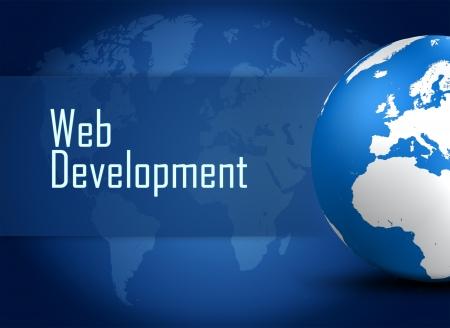 Web Development concept Illustration on blue background with a world globe illustration