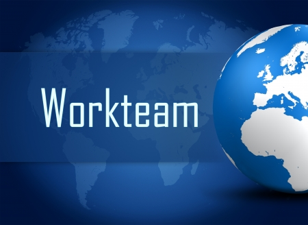 workteam: Workteam concept with globe on blue world map background Stock Photo