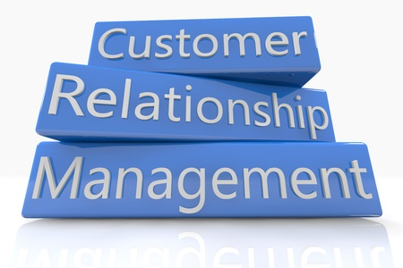 professional relationship: Blue box concept  Customer Relationship Management on white background