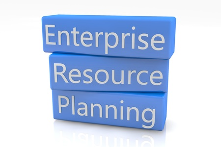 Blue box concept  Enterprise Resource Planning on white background photo