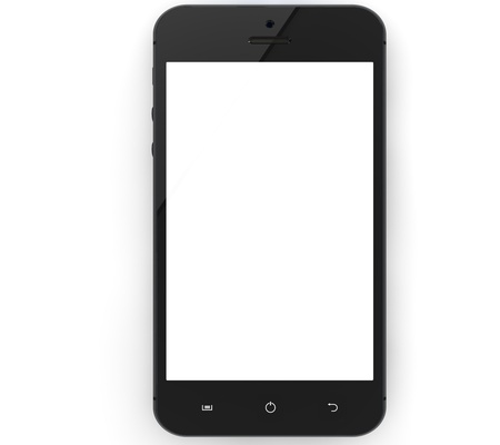 Realistic mobile phone with blank screen isolated on white background photo