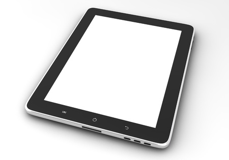 Realistic tablet pc computer like ipade with blank screen isolated on white background photo