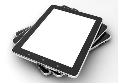 빈 화면이 흰색 배경에 고립 된 ipade와 같은 현실적인 태블릿 PC 컴퓨터