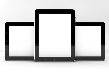 Realistic tablet pc computers like ipade with blank screen isolated on white background photo