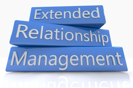 Blue box concept: Extended Relationship Management on white background photo