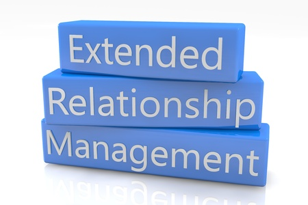 Blue box concept: Extended Relationship Management on white background Stock Photo