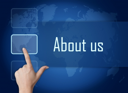 about us: About us concept with interface and world map on blue background
