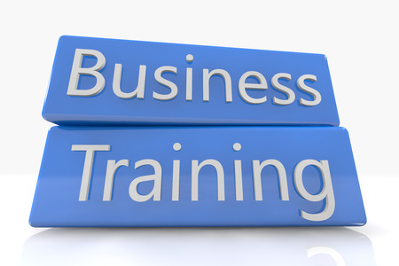 knowlage: Blue box concept: Business Training on white background Stock Photo