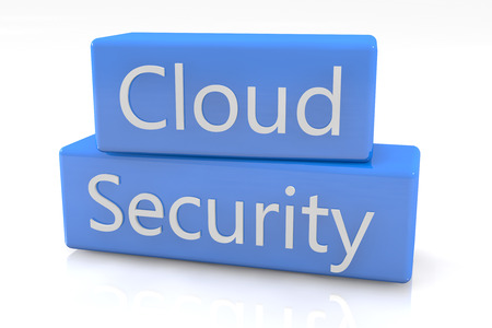 Blue box concept: Cloud Security on white background photo
