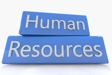 Blue box concept: Human Resources on white background photo