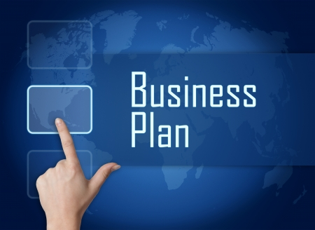 Business Plan concept with interface and world map on blue background photo