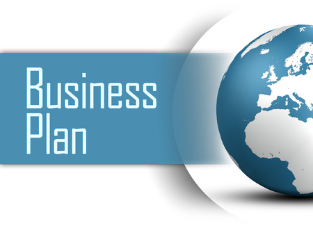 Business Plan concept with globe on white background photo