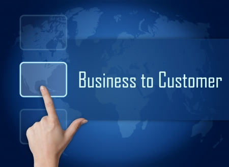 Business to Customer concepto de interfaces y mapa del mundo sobre fondo azul photo