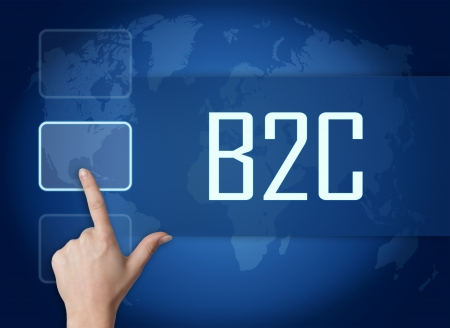 Business to Customerconcept with interface and world map on blue background photo