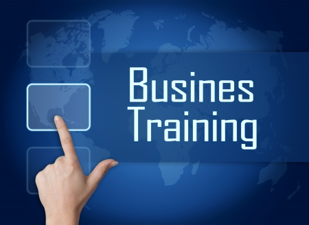 knowlage: Business Training concept with interface and world map on blue background Stock Photo