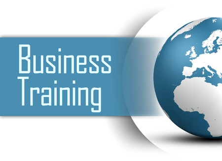 Business Training concept with globe on white background