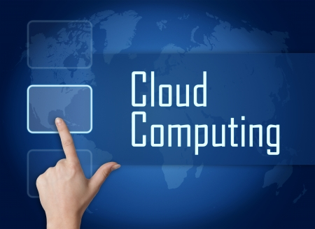Cloud Computing concept with interface and world map on blue background photo