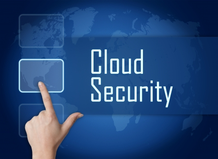 Cloud Security concept with interface and world map on blue background Stock Photo - 22821120