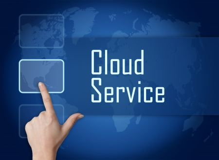 Cloud Service concept with interface and world map on blue background Stock Photo - 22821121