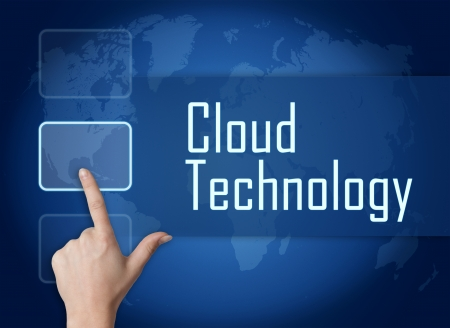 Cloud Technology concept with interface and world map on blue background photo