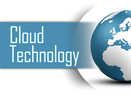Cloud Technology concept with globe on white background photo