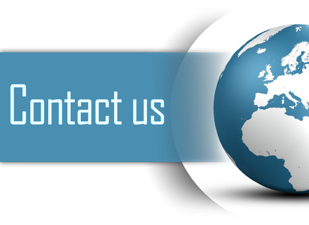 contact info: Contact us concept with globe on white background