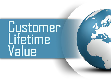 lifetime: Customer Lifetime Value concept with globe on white background Stock Photo