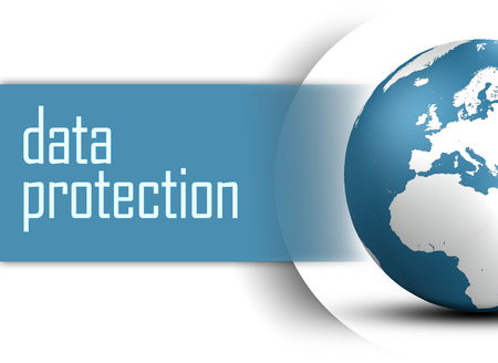 Data Protection concept with globe on white background photo
